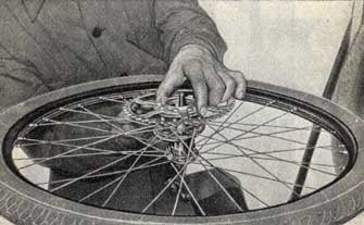 How the chain is mounted. Picture from instruction catalogue.Hur kedjehjul monteras.